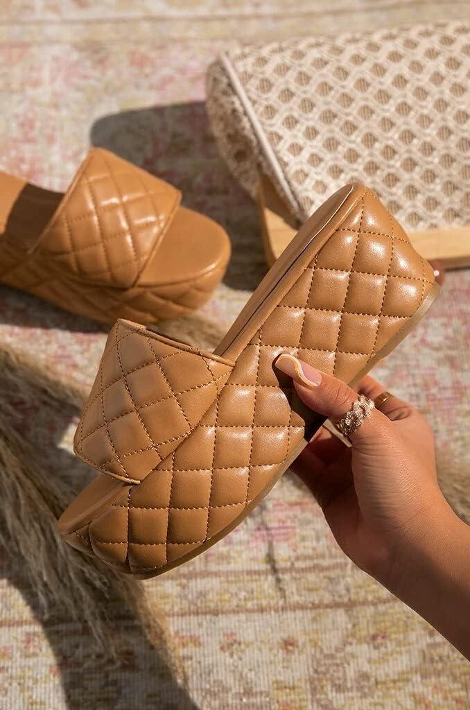 DTTBlue Luxury Women Platform Wedge Slipper Light Pu Leather Stitch Detail Height Increasing Fashion Summer Slides Outdoor Ladies Shoes - White - 6.5