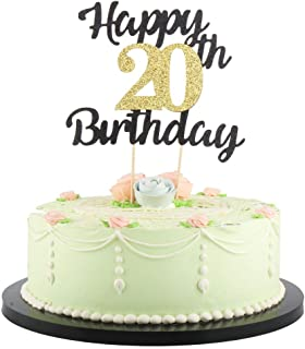 LVEUD Happy Birthday Cake Topper Black Font Golden Numbers 20th Birthday Happy Cake Topper -Birthday Party Decorations (20th)