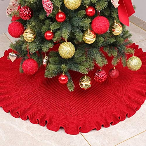 US Warehouse - Tree Skirts - Christmas Decorations Knitted Pleated Curled Tree Skirt Christmas Supplies Tree Bottom Apron 2020 - (Color: A)