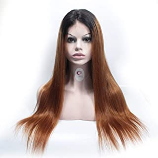 Forawme 18 Inch Virgin Brazilian Straight Human Hair Front Lace Wigs For Black Women 130% Density 1B/30 Brown Remy Real Hair Pre Plucked Lace Wigs Productions