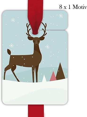 10 x 8 elegante Retro Weißachts Geschenkanh er, Geschenkkarten, Papieranh er, H e Etiketten, Tags zu Weißachten mit Vintage Hirsch zum Beschriften, Format 10 x 6,9cm