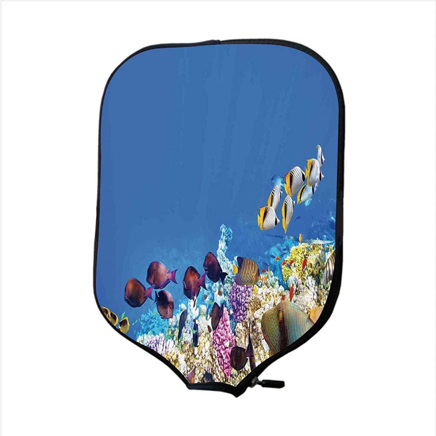 Fine Neoprene Pickleball Paddle Racket Cover Case,Ocean,Fish Schools Swimming Submerged Ancient Coral Reefs Nature Marine World,blueee Yellow and Purple,Fit for Most Rackets