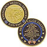 Emergency Medical Services EMS/EMT Challenge Coin with Hero's Valor Prayer 1-Pack (Single Coin)