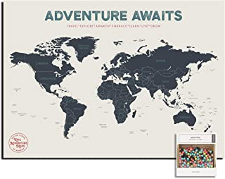 """Epic Adventure Maps Push Pin World Map Poster 24"""" x 17"""" - Travel Map to Mark Your Explorations Around The World - Multicol..."""