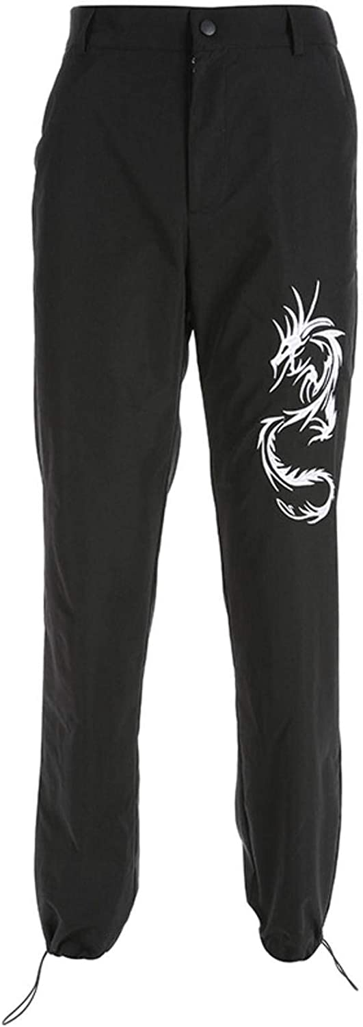 LZZSWDT Y2K Women's Waist Trousers are Thin Chinese Style Retro Embroidery Dragon-Shaped Street Hipster Casual Pants