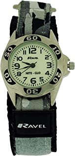 Ravel Nite-Glo Quartz Luminous Dial Grey Camouflage Velcro Boys Watch R1707.3