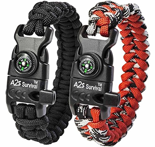 A2S Protection Paracord Bracelet K2-Peak – Survival Gear Kit with Embedded Compass, Fire Starter, Emergency Knife & Whistle (Black/Red 8.5
