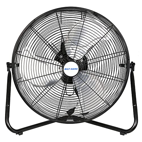 BILT HARD 20' 3-Speed High Velocity Floor Fan, 5200 CFM, Heavy Duty Metal Fan with Wall-Mounting System, Industrial Shop Fan for Commercial, Residential, and Greenhouse