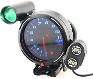 Qiilu 3.75 Inch 12V Car Tachometer Gauge Kit 11000 RPM Blue LED with Shift Light