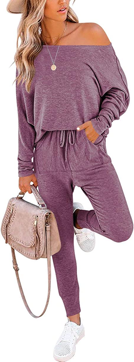 AMABMB Womens Solid Two Piece Outfit Long Sleeve Off Shoulder Pullover Tops and Long Pants Sweatsuits Tracksuits