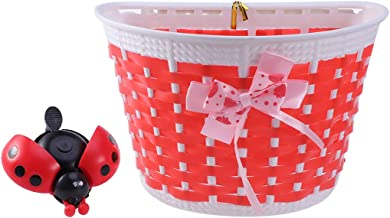 LIOOBO Bicycle Scooter Basket for Children Kids Boys Girls Bike Basket Plastic Knitted Bow Knot Front Handlebar Handmade Bag