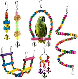 Brave669 Bird Toys 6Pcs Bird Parrot Chewing Hanging Climbing Ladders Swing Stand Bell String Toys - Non-Toxic - Easy to Install