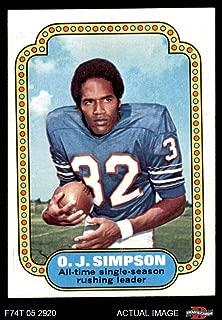 1974 Topps # 1 Record Breaker O.J. Simpson Buffalo Bills (Football Card) Dean's Cards 6 - EX/MT Bills