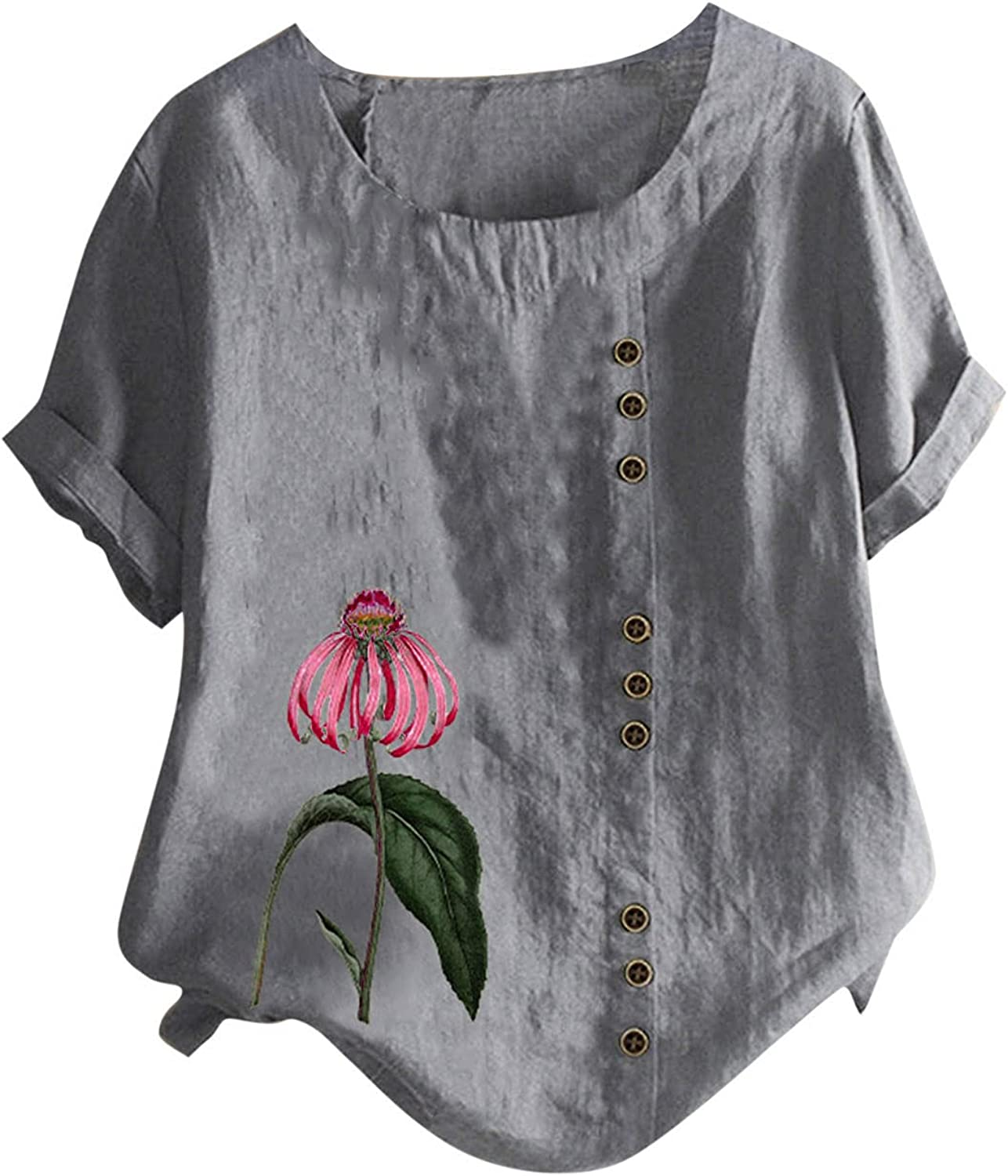 Plus Size Tops for Womens Cotton Linen Shirts Button Tunic Short Sleeve Blouse Summer Casual Tshirts
