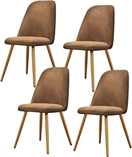 ZCXBHD Retro Sillas Comedor Conjunto de 4 Asiento de Terciopelo Patas de Metal con Respaldo Sillas Cocina for Sala Estar Ocio Sillas de recepción (Color : Brown)