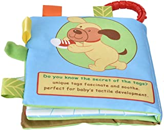 Cloth Book Toy, Rattles Book Toy Cloth Book High Strength Cotton Built-in Sounder for 6 Months and Elder(Puppy)