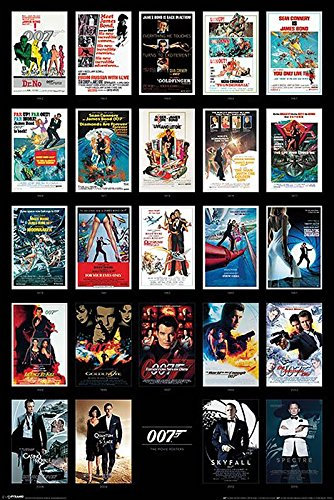 Close Up James Bond 007 Poster Filmplakate Collage (61 cm x 91,5 cm) + weiße Geschenkverpackung. Verschenkfertig!