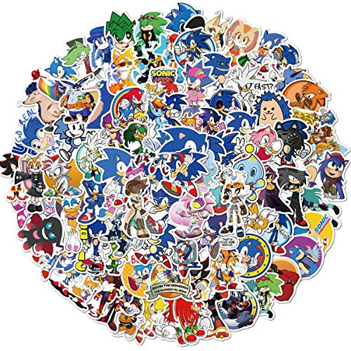 Sonic The Hedgehog Stickers 100pcs, Vinyl Sticker Decals for Laptop, Waterbottle, Skateboard, Car, as Gift and Decoration for Teens, Kids, Girls. Sonic The Hedgehog