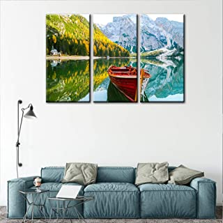 Large 3 Pieces Green Wall Art Painting Yosemite National Park Clear Water Lake Mountain..