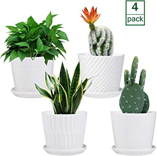 Plant pots - 5.5-inch Cylindrical Ceramic Planters with Connected Saucer, Round Modern Ceramic Garden pots - Succulent Medium-Sized Plant pots Set of 4