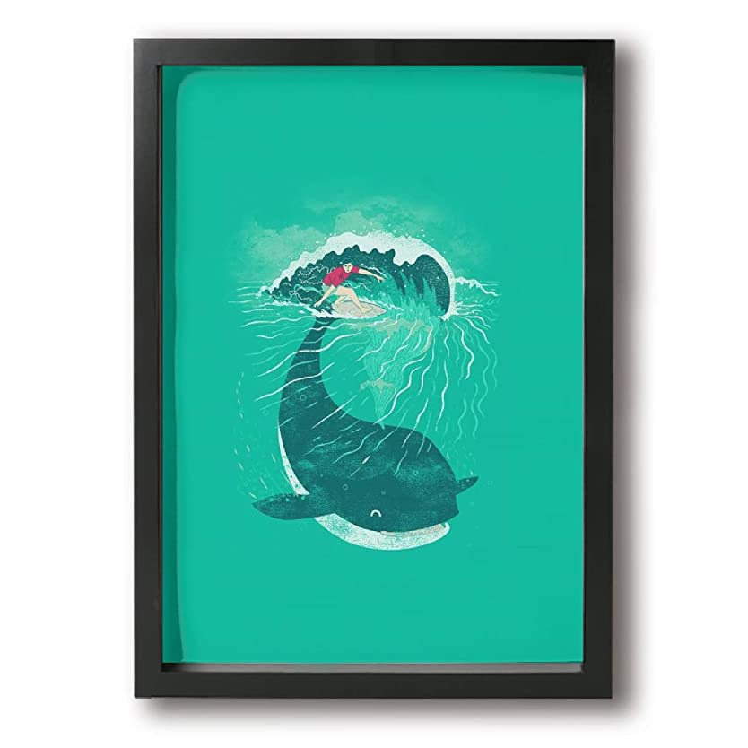 ターゲット謎徹底的に鯨 サーフィン アートポスター アートパイル インテリア インナーフレーム装飾画 アート壁掛け 壁アート ポスター インテリア装飾品 絵画 風景画 Black