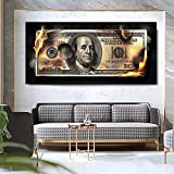 SHKJ Pintura Abstracta sobre Lienzo Impresión Burning Dollar Money Pictrues Moderno Creativo 100 Dollar Canvas Poster Living Room Decor 70x140cm / 27.6'x55.1 Sin Marco