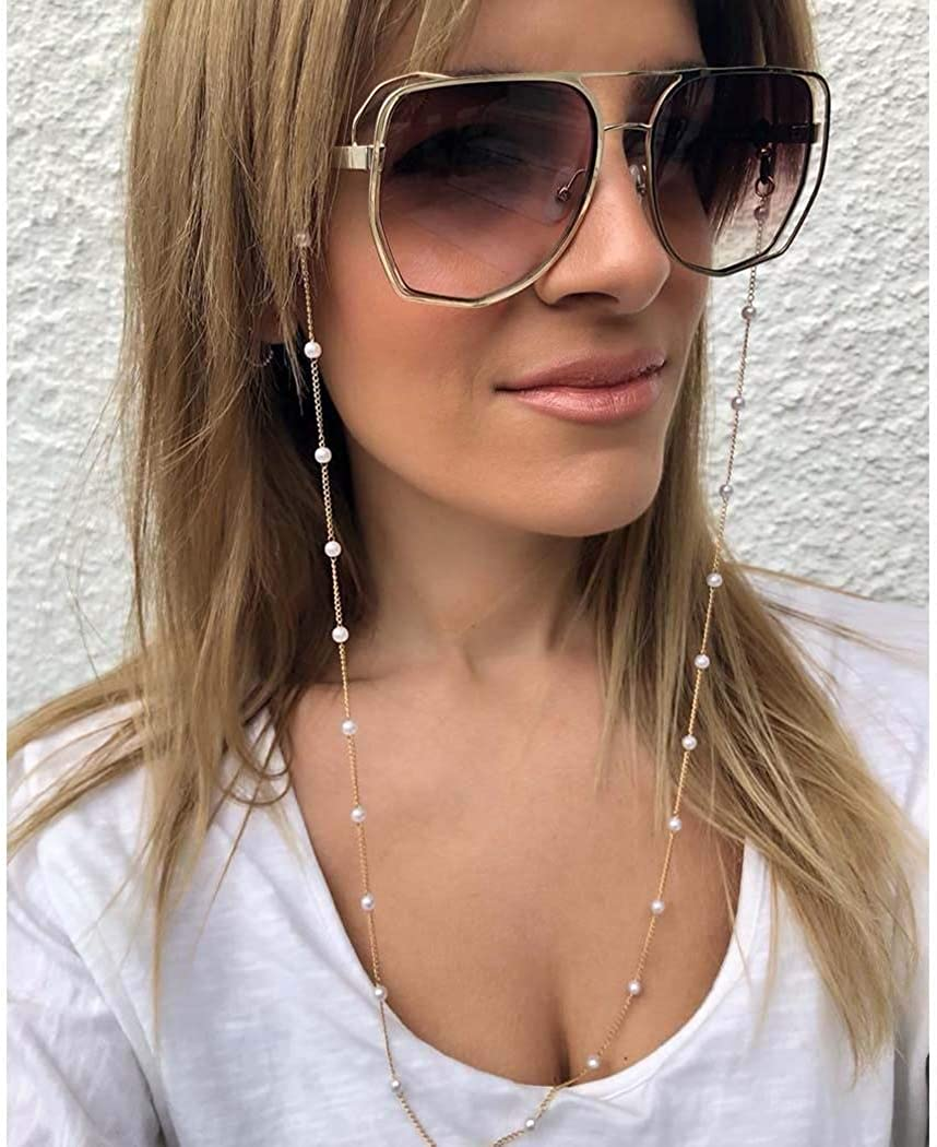 Ursumy Gold Beaded Glasses Necklace Pearl Eyeglasses Holder Stra