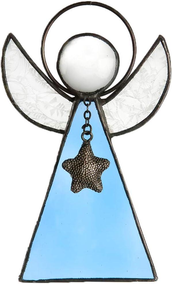 Guardian angel blue Stained glass Angel figurine Suncatcher Mosaic DIY kit Angel wings wall art Angel ornament Angel wall decor Grandma gift