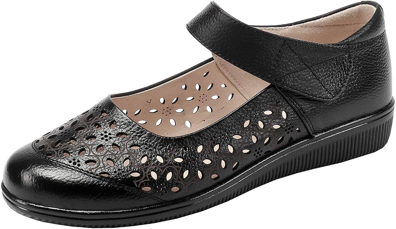 Artfaerie Womens Super Soft Lightweight Flat Mary Janes Perforated Walking Comfort Summer shoes