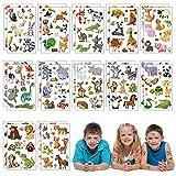 Matogle 24 Blätter Tattoo Tier Set Kinder Tattoos temporäre Kindertattoos Aufkleber wasserdicht Stickers aufklebend für Kinder Party Mitgebsel Partygame Geburtstag Geschenk Party zubehör