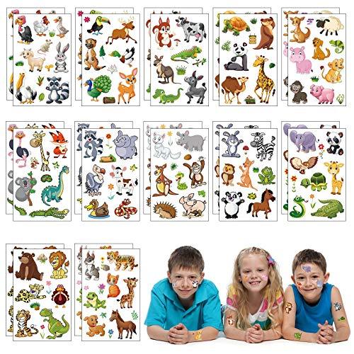 Matogle 24 Fogli Tatuaggio Animale per Bambini Tatoo Finto per Bambini Tatuaggi Temporanei Adesivi Impermeabili per Festa Gioco Regalo di Compleanno Accessori per Feste
