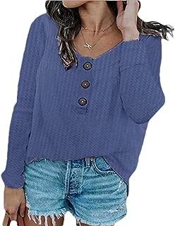 Macondoo Women Round-Neck Button Knit Plus Size Tee Long Sleeve T-Shirts
