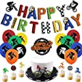 Bike Birthday Party Decorations, BMX Bday Banner Biking Cake Topper Bicycle Poses Cupcake Toppers Latex Balloons Extreme Sports Fans Birthday Party Supplies
