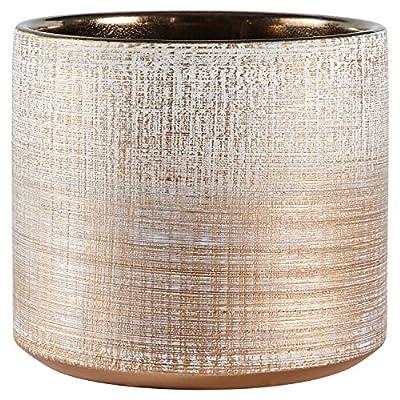 "Amazon Brand – Rivet Rustic Stoneware Crosshatch Indoor Outdoor Flower Plant Pot, 5""H, Bronze, Small Planter"
