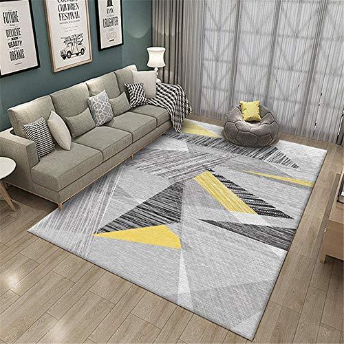 RUGMYW Mullido Y Suave Alfombra Escritorio Patrón geométrico Amarillo Negro Gris Alfombra habitación Matrimonio 160X200cm