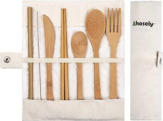 Bamboo Utensils | Bamboo Travel Utensils | Eco Friendly Flatware Set | Knife, Fork, Spoon, Reusable Straws and Chopsticks | Camping Utensils Set | Portable Utensils Set