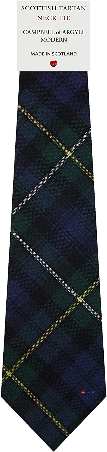 Campbell Clan Ancient Tartan Plaid 100% Lambswool Scarf & Tie Gift Set