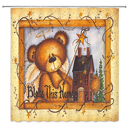 Funny Bear Shower Curtain Country Primitive House Cute Fairytale Angel Bear Blessed Home Retro Wood Frame Print Fabric Bathroom Decor,Hooks Included,71 X 71 Inches,Brown