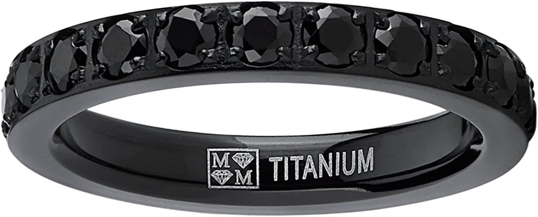 3MM Ladies Black Titanium Eternity Engagement Band, Wedding Ring with Black Pave Set Cubic Zirconia