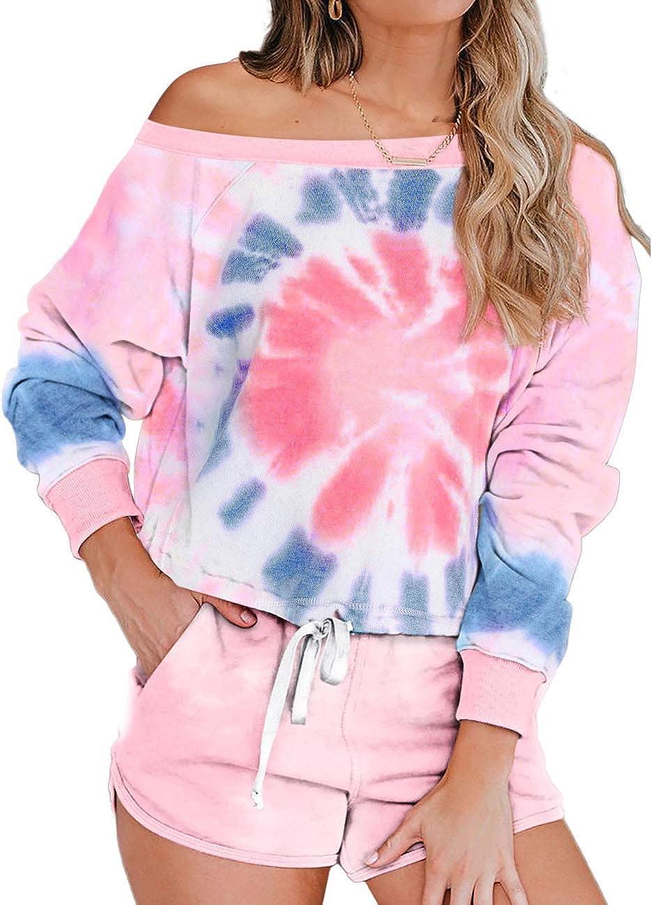 ADEWEL Womens Tie Dye Printed Long Sleeve Tops and Shorts Pajamas Set 2 Piece Pj Set Loungewear Sleepwear Nightwear