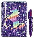 FRINGOO Agenda Reversible de Lino con Bolígrafo Multipunto Arco Iris para Niñas Niños Diario A5 con Marcador Cuaderno Escolar de Purpurina Unicornio 80 Páginas
