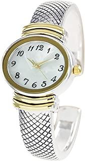 Rosemarie Collections Women's Stylish Oval Shaped Mother of Pearl Face and Textured Cuff Watch Bracelet