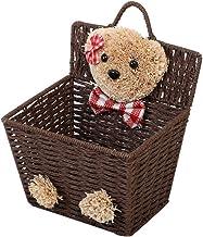 YARNOW Wicker Storage Basket Cartoon Bear Pattern Weave Organizer Baskets Desktop Storage Box Sundries Container Desk Bask...