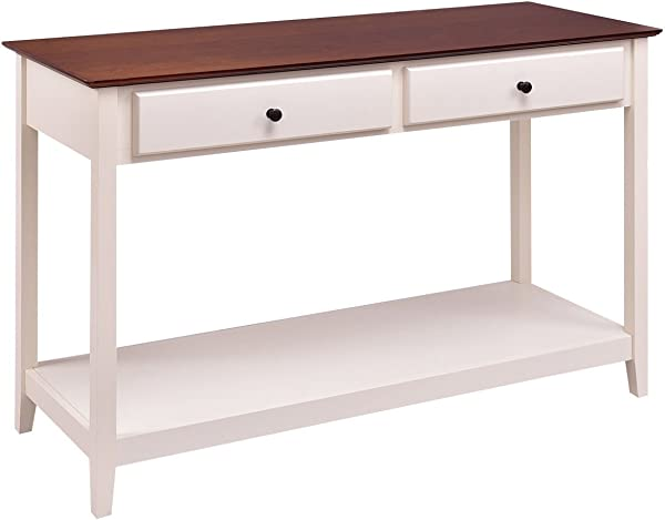 Giantex Console Sofa Table Wood Entryway Living Room Accent Stand W Drawer And Shelf White Coffee