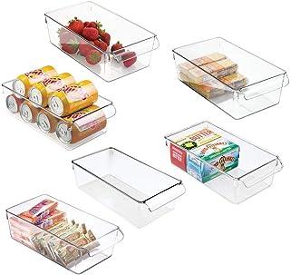 mDesign boîte de rangement à poignée en plastique (lot de 6) – grand bac en plastique idéal en cuisine, dans un placard ou...