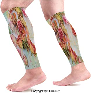 Flexible Breathable Comfortable Leg Skin Protector Sleeve Dried Roses Petals Leaves Nostalgic Fragile Floral Vintage Abstract View Artistic Calf Compression Sleeve