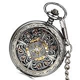 LANCARDO Taschenuhr Vintage Herren Damen Automatisches mechanisches Uhrwerk Uhr mit Metall Kette...