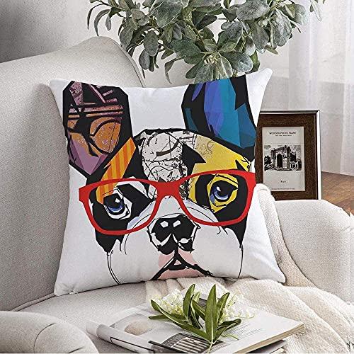 Fundas de almohada Funda Cozy French Domestic Bulldog Divertido Young Wearing Artwork Race Gafas de sol Animales Pet Beautiful Wildlife Throw Pillow Funda de cojín para sofá Decoración del hogar, 16