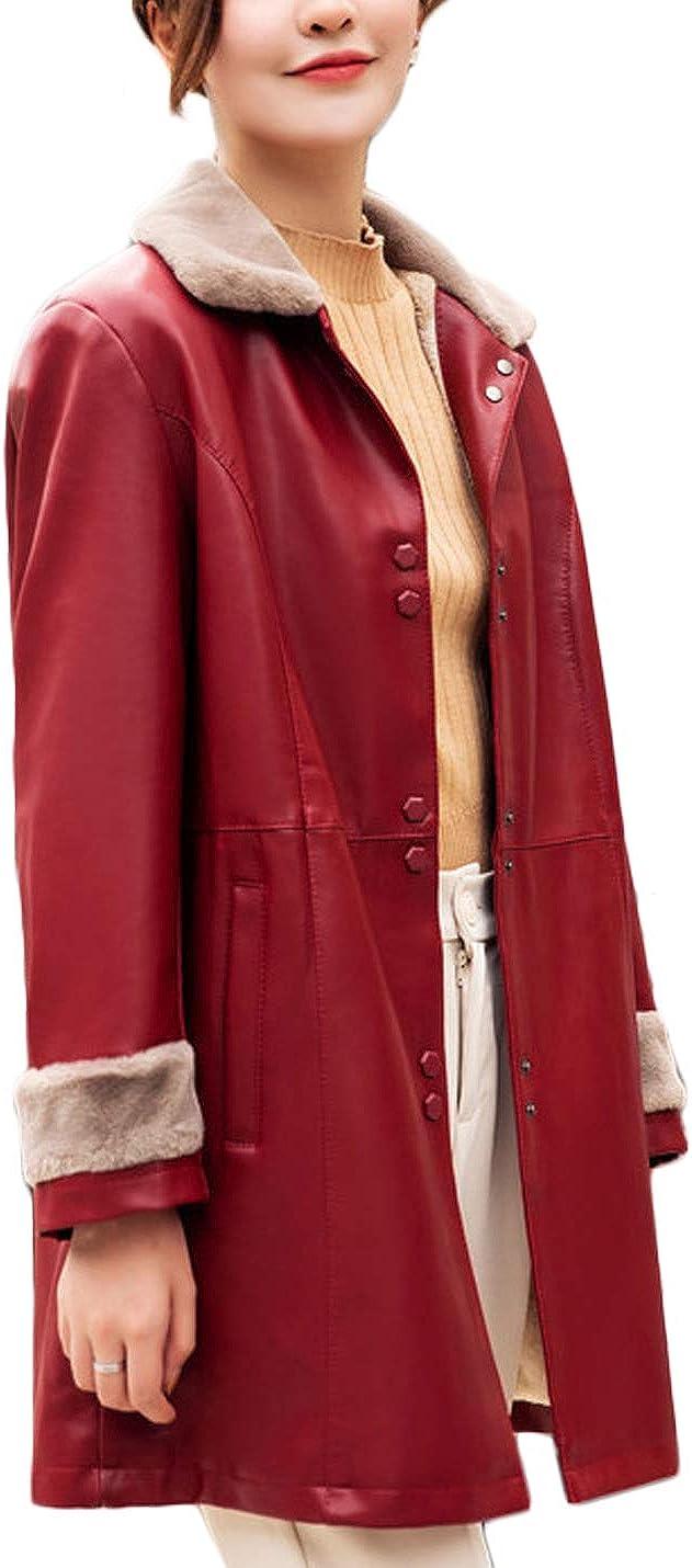 Jenkoon Women's Winter Thicken Faux Fur Fleece Leather Jacket Midlength Overcat Jackets