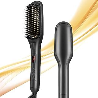 Cepillo alisador de pelo, cepillo de alisado de pelo de cerámica iónica, 15 juegos de temperatura, antiescaldaduras, apagado automático, indicador LED, 110 V-240 V, plancha de pelo caliente para peluquería rápida y profesional en casa